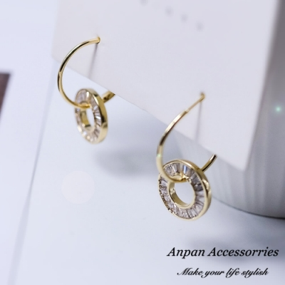 【ANPAN愛扮】韓東大門簡約氣質雙環鑽石圈925銀針耳釘式耳環