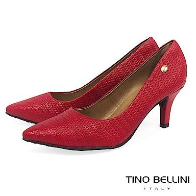 Tino Bellini巴西進口典雅編織壓紋跟鞋_紅