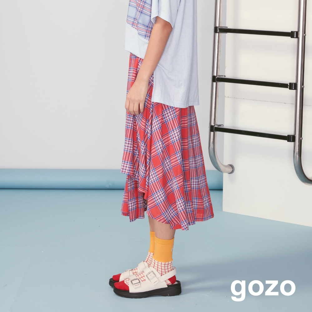 gozo 彩色格紋不規則切口長裙(紅色)