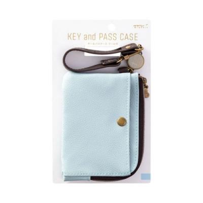 MIDORI 小物雜貨-伸縮式票夾(附鑰匙鍊)-柔彩藍(皮革)
