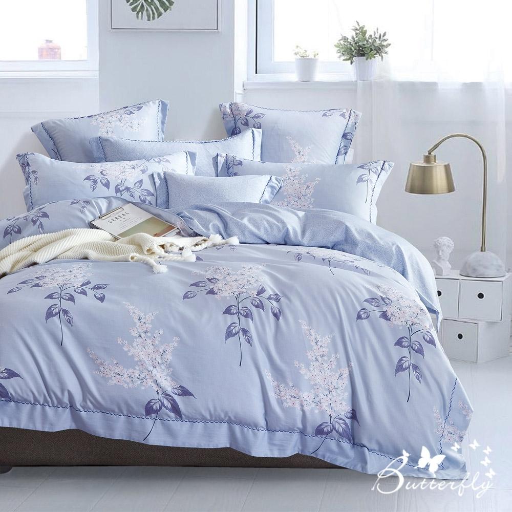 BUTTERFLY-MIT-3M專利+頂級天絲-雙人薄床包組-夏日庭榭-藍