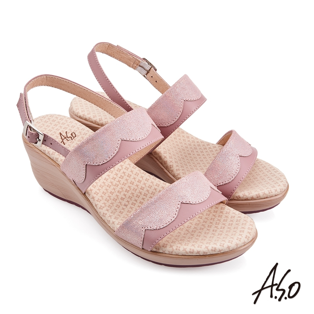 A.S.O 挺麗氣墊金箔牛皮拼接休閒涼鞋-粉紅