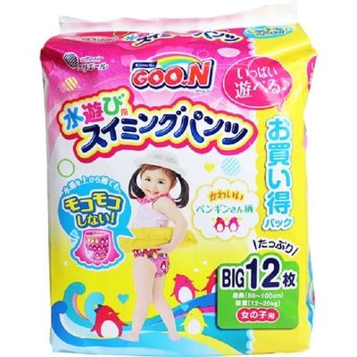 日本【大王】Goon 兒童游泳戲水用 尿褲Big號12張入#女生用