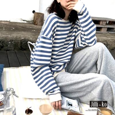 JILLI-KO 韓版經典寬鬆條紋T- 藍/黑