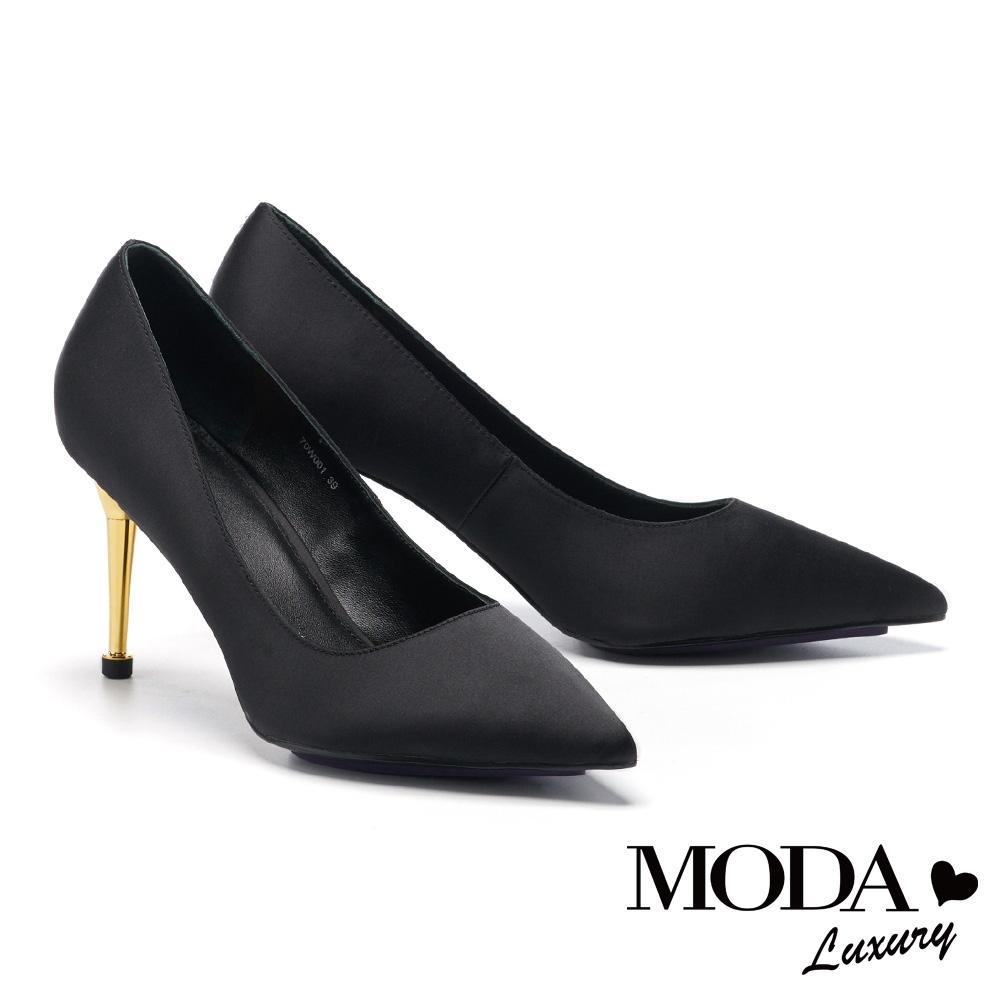 高跟鞋 MODA Luxury 時髦奢華感真絲布尖頭高跟鞋-黑