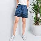 【白鵝buyer】 韓國製單寧蕾絲短褲_藍