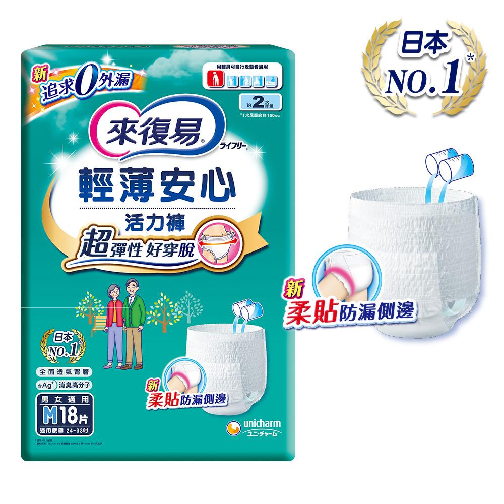來復易 輕薄安心活力褲(M)(18片 x 4包/箱)-成人紙尿褲