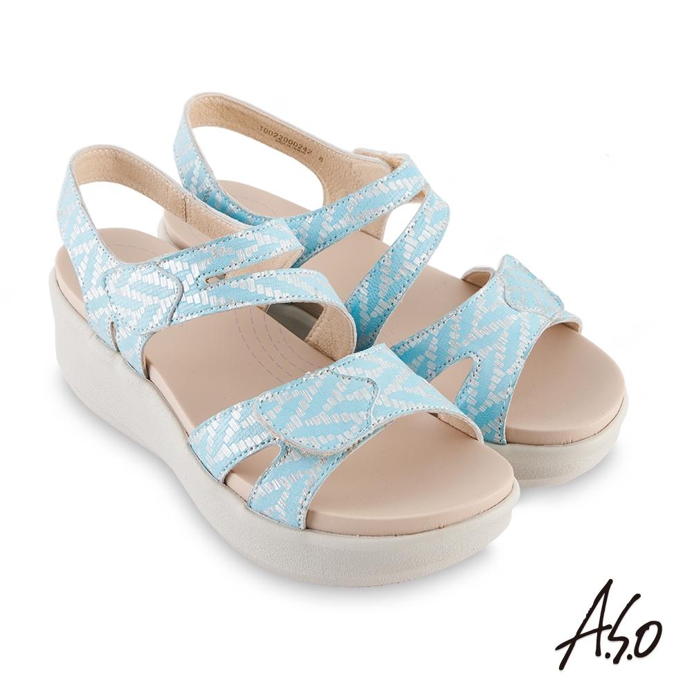 A.S.O 機能休閒 厚底美學金箔牛皮腳床休閒涼鞋-淺藍