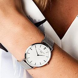 Elie Beaumont 英國時尚手錶 牛津米蘭錶帶系列 白錶盤x銀色錶帶錶框38mm