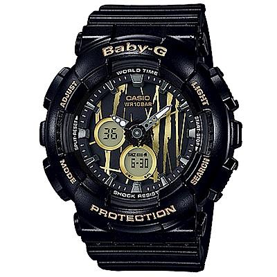 BABY-G 街頭塗鴉城市搖滾風格休閒錶(BA- 120 SP- 1 A)黑色 43 . 4 mm