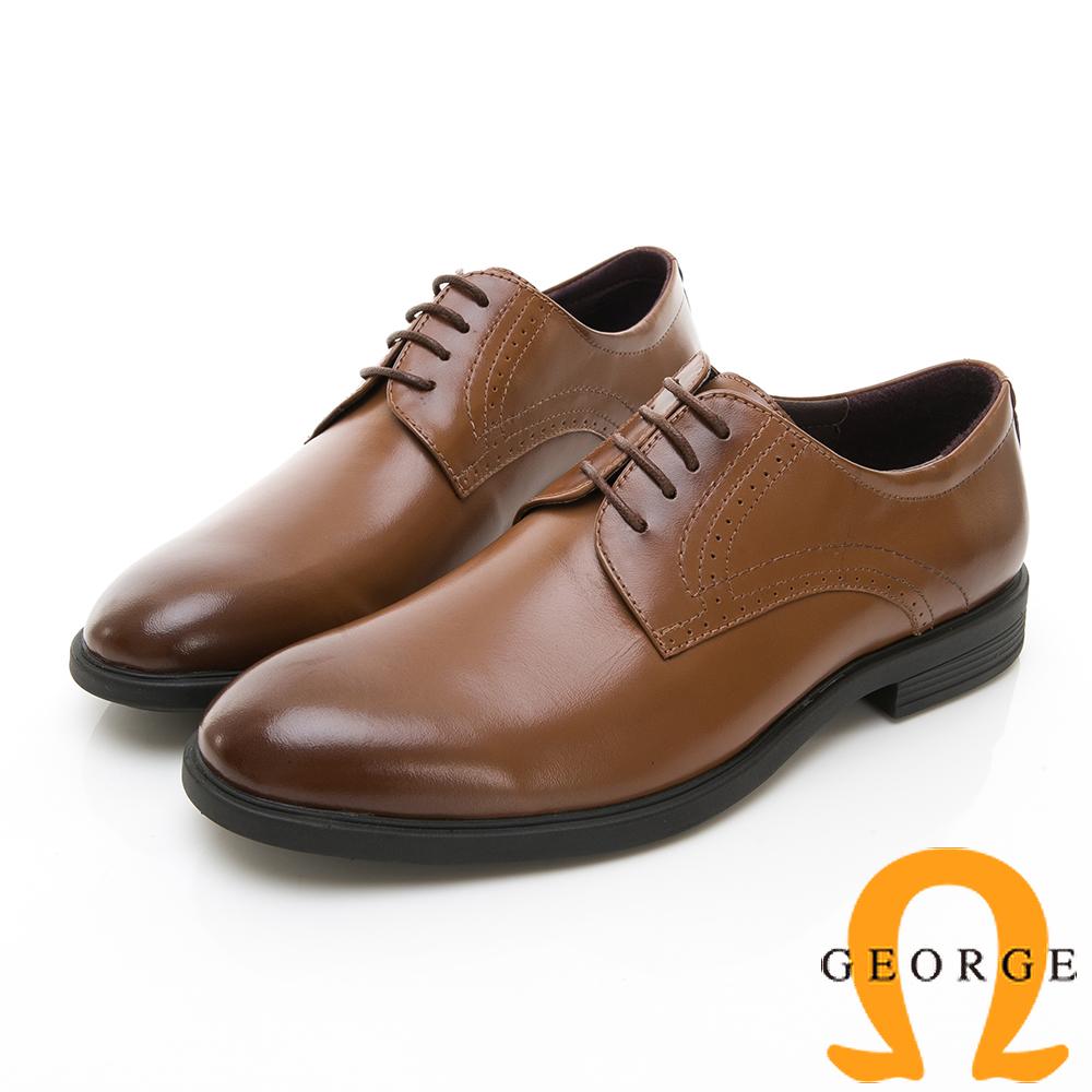【GEORGE 喬治皮鞋】輕量系列 綁帶柔軟紳士皮鞋-棕色