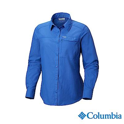 Columbia 哥倫比亞 女款-UPF50快排長袖襯衫-深藍 UAK26570NY