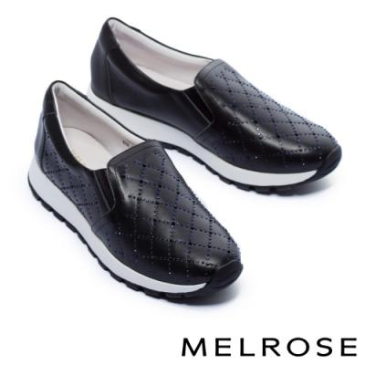休閒鞋 MELROSE 率性迷人璀璨晶鑽全真皮厚底休閒鞋-黑