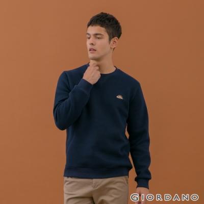 GIORDANO 男裝精緻刺繡大學T恤 - 07 標誌藍