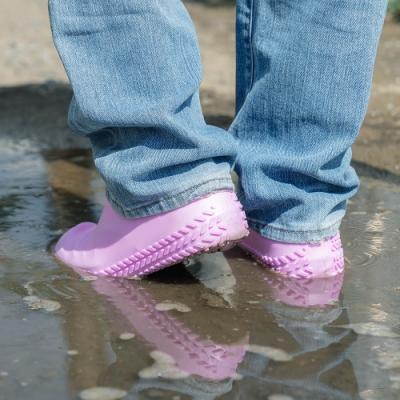 樂嫚妮 輪胎紋防滑耐磨加厚防水矽膠鞋套-粉 (附贈防水收納袋)