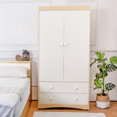 Birdie南亞塑鋼-3.1尺二門二抽塑鋼衣櫃(白橡色+白色)-94x58x190cm
