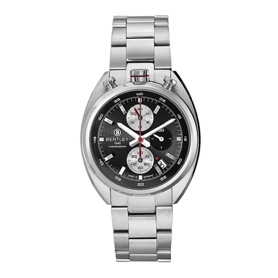 Bentley 賓利 ROAD CAPTAIN系列 三眼不銹鋼手錶-黑x銀/43mm