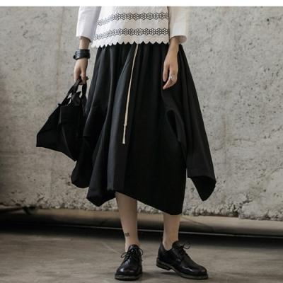 設計所在Style-早秋暗黑風不規則兩種穿法鬆緊長裙褲裙