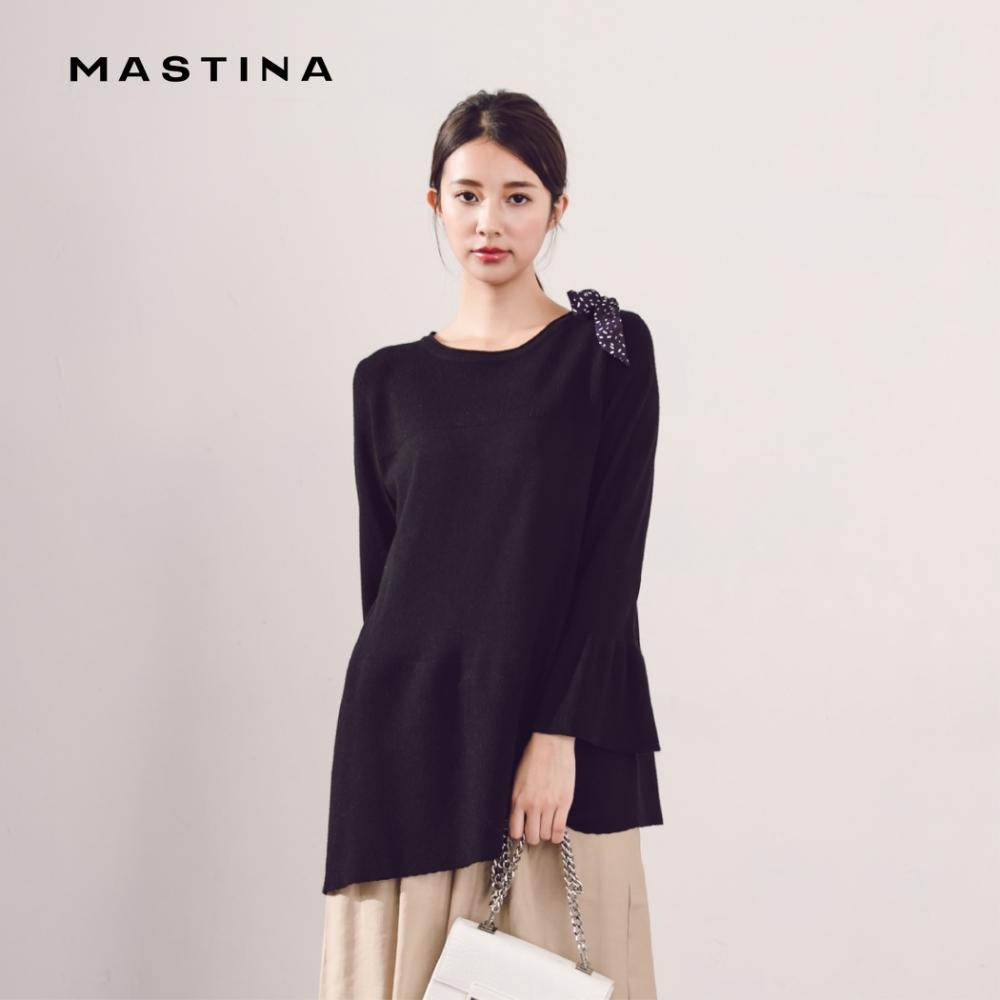 【MASTINA】肩上綁帶設計波浪-針織衫()