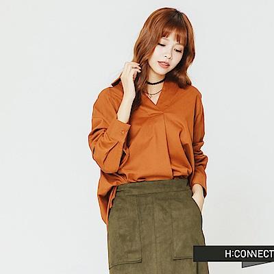 H:CONNECT 韓國品牌 女裝-純色半開襟襯衫-卡其
