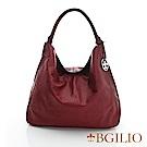 義大利BGilio-水染牛皮大方帥氣肩背包-棗紅色 2046.002C-01