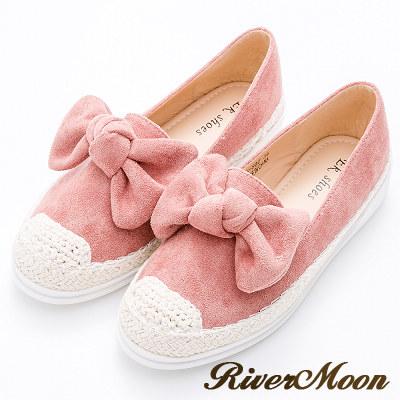 River&Moon懶人鞋-俏皮大朵結細絨麻編豆豆休閒鞋-粉橘