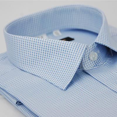 金‧安德森 藍色細格紋窄版短袖襯衫