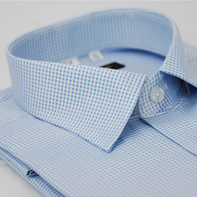 金‧安德森 藍色細格紋窄版短袖襯衫fast