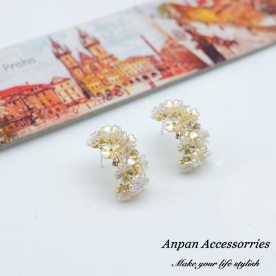 【ANPAN愛扮】韓東大門OL百搭貝殼花朵C型925銀耳針式耳環