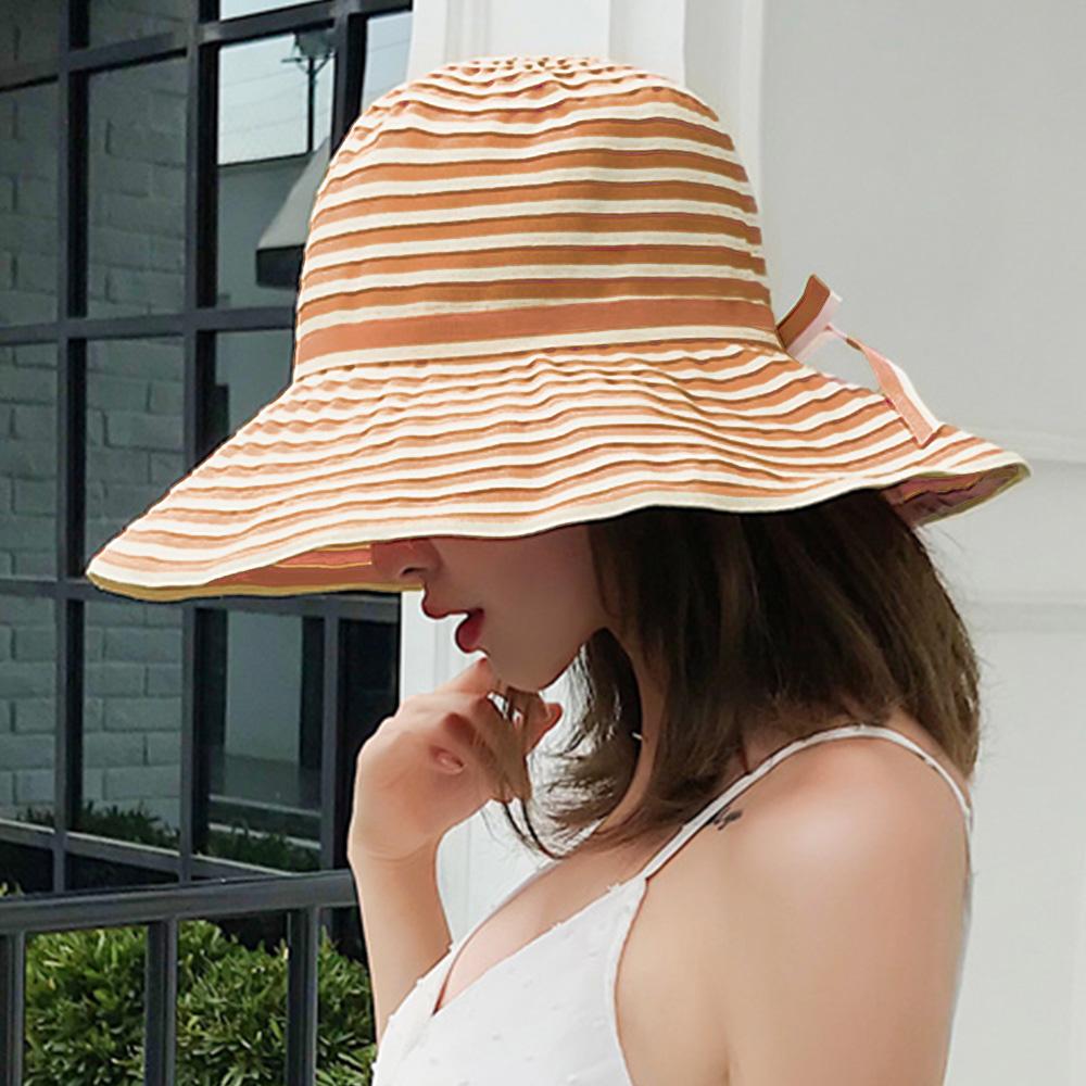 幸福揚邑 夏日浪漫條紋大帽檐抗UV防紫外線可摺疊遮陽帽-卡其