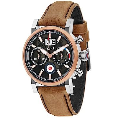 AVI-8 飛行錶 HAWKER HURRICANE 潮流手錶-黑x棕/45mm