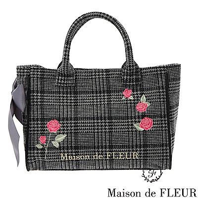Maison de FLEUR經典千鳥格紋玫瑰刺繡手提包