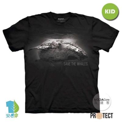 摩達客-預購-美國The Mountain保育系列 拯救鯨魚 兒童黑色純棉短袖T恤