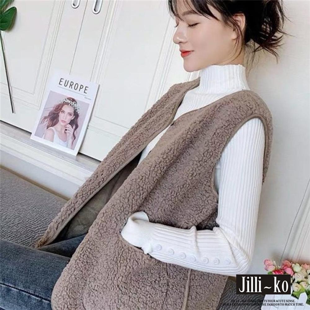 JILLI-KO 韓版羊羔絨毛開扣背心- 淺棕