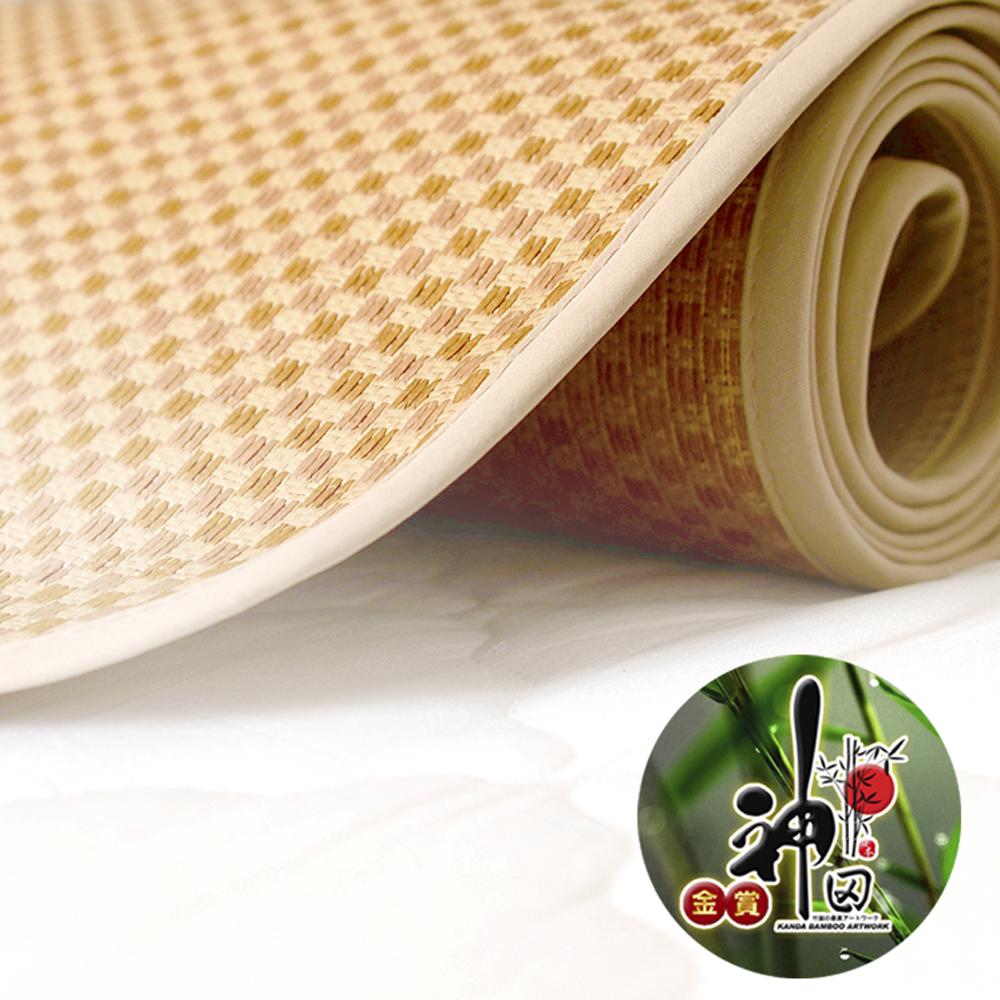 (時時樂)神田職人-雙人5尺 3D加厚 棉麻透氣天然涼蓆-格紋E