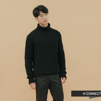 H:CONNECT 韓國品牌 男裝-麻花針織上衣 - 黑(快)