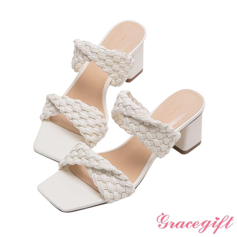 Grace gift-編織交叉中跟涼拖鞋  白