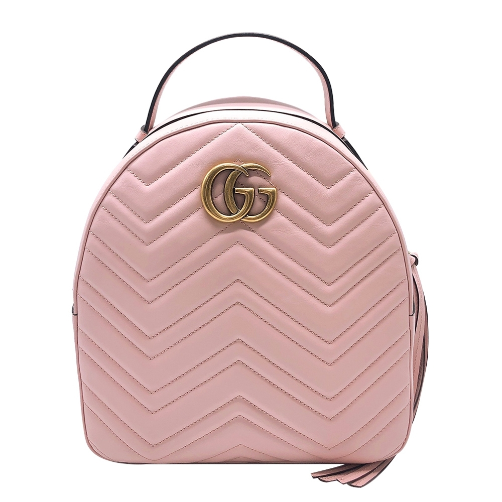 GUCCI GG Marmont Quilted 牛皮後背包 (476671-櫻花粉)