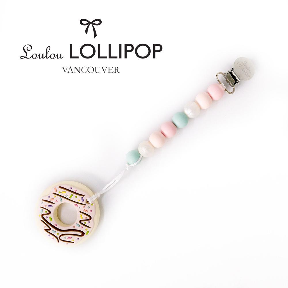 加拿大Loulou lollipop嬰幼兒粉紅巧克力甜甜圈 固齒器組/奶嘴鍊夾-薔薇粉