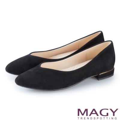 MAGY 氣質首選 質感素面V口尖頭平底鞋-黑色