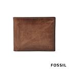 FOSSIL DERRICK 棕色真皮RFID男夾證件套