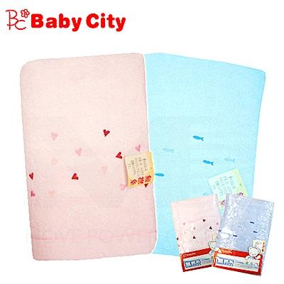 娃娃城BabyCity-無撚紗寶寶浴巾(藍粉雙色可選)