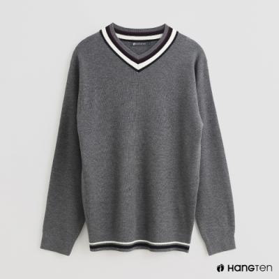 Hang Ten - 男裝 - 素面撞色線條造型圓領毛衣 - 灰