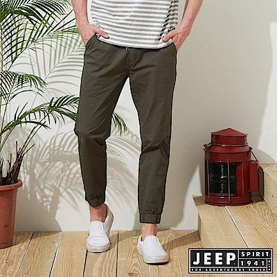 JEEP 美式休閒縮口長褲-軍綠色