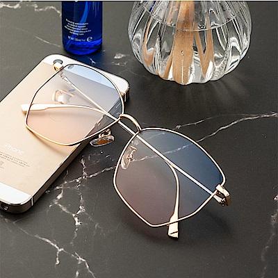 尚佰家 寶麗萊鏡片女款流行抗UV太陽眼鏡-金框上藍下粉(390)
