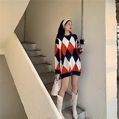 DABI 韓國風菱形撞色超寬鬆針織毛衣長袖上衣