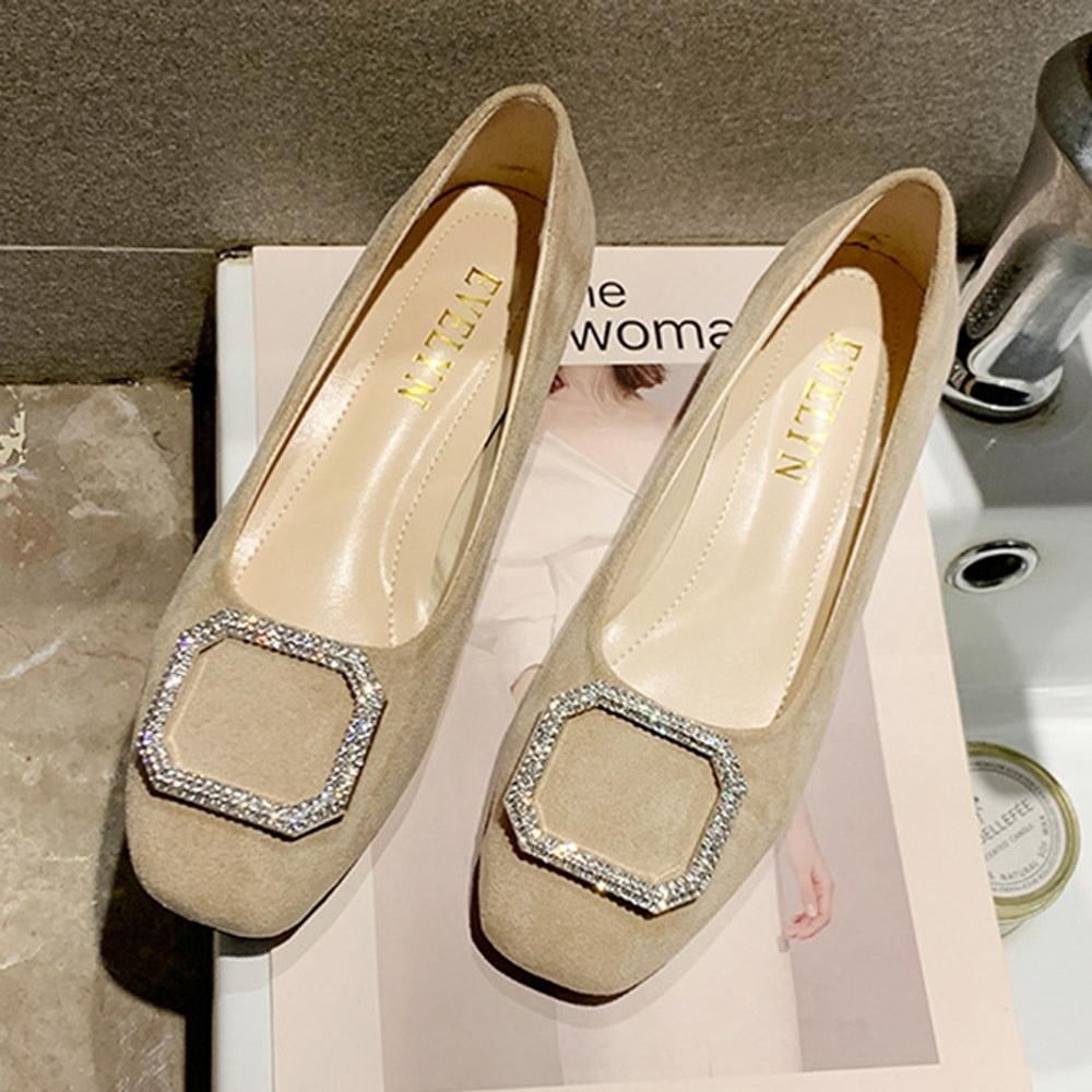 KEITH-WILL時尚鞋館 破盤價夏日必買水鑽粗跟鞋-米白
