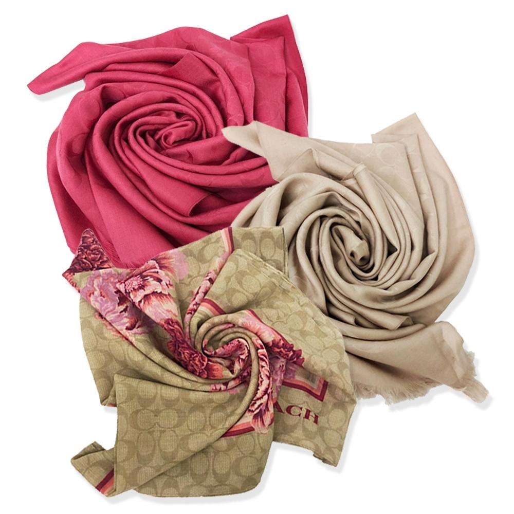 【限時下殺2999】COACH 經典C LOGO絲巾/圍巾/方巾(多款供選)