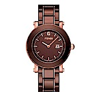 FENDI 典雅時尚仕女腕錶/陶瓷錶帶/咖啡/F684120