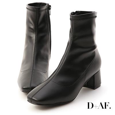 D+AF 秋冬定番.素面合腿中跟方頭襪靴*黑